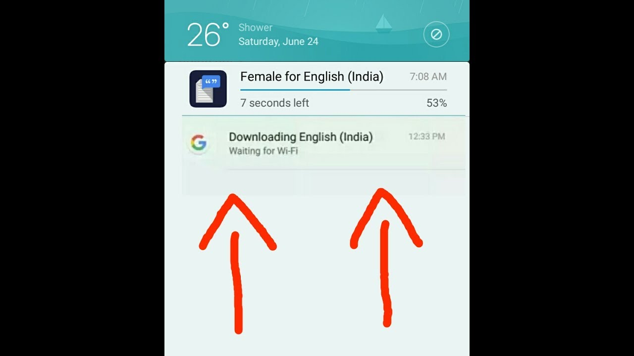 Downloading English (India) Waiting for WiFi: Remove from Notification Bar
